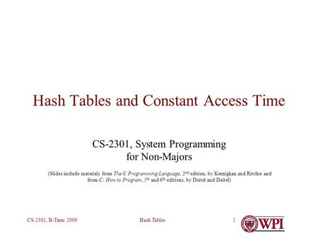 Hash TablesCS-2301, B-Term 20091 Hash Tables and Constant Access Time CS-2301, System Programming for Non-Majors (Slides include materials from The C Programming.