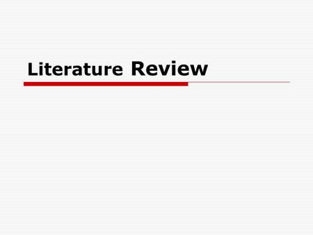 Research topics for literature review