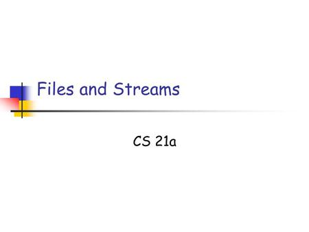 Files and Streams CS 21a. 10/02/05 L18: Files Slide 2 Copyright 2005, by the authors of these slides, and Ateneo de Manila University. All rights reserved.
