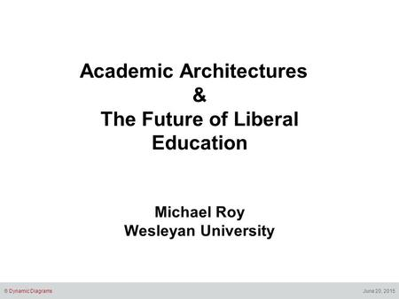 June 20, 2015® Dynamic Diagrams Academic Architectures & The Future of Liberal Education Michael Roy Wesleyan University.