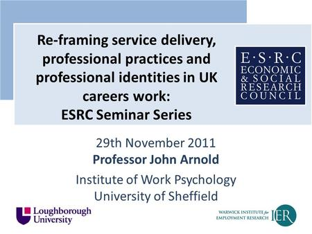 29th November 2011 Professor John Arnold Institute of Work Psychology University of Sheffield Re-framing service delivery, professional practices and professional.