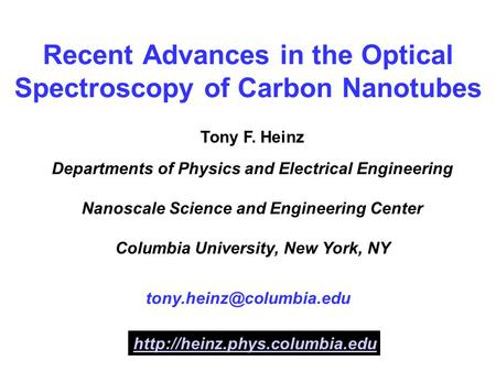 optical properties of carbon nanotubes thesis