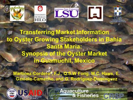 Transferring Market Information to Oyster Growing Stakeholders in Bahia Santa Maria: Synopsis of the Oyster Market in Guamuchil, Mexico Martínez-Cordero*,