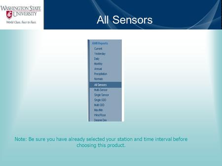 All Sensors Note: Be sure you have already selected your station and time interval before choosing this product.