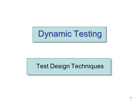 Test Design Techniques