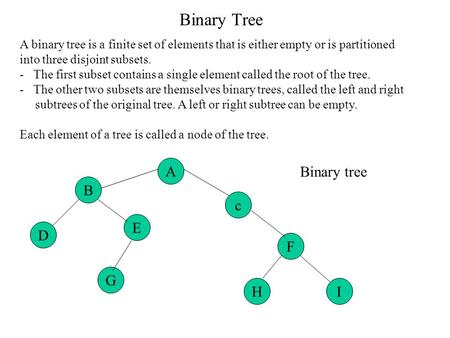 Binary Tree A binary tree is a finite set of elements that is either empty or is partitioned into three disjoint subsets. - The first subset contains a.