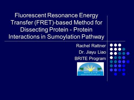 Fluorescent Resonance Energy Transfer (FRET)-based Method for Dissecting Protein - Protein Interactions in Sumoylation Pathway Rachel Rattner Dr. Jiayu.