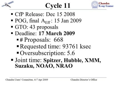 Chandra Users' Committee, 6-7 Apr 2009 Chandra Director's Office Cycle 11  CfP Release: Dec 15 2008  POG, final A Eff : 15 Jan 2009  GTO: 43 proposals.