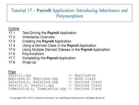 © Copyright 1992–2005 by Deitel & Associates, Inc. and Pearson Education Inc. All Rights Reserved. Tutorial 17 – Payroll Application: Introducing Inheritance.