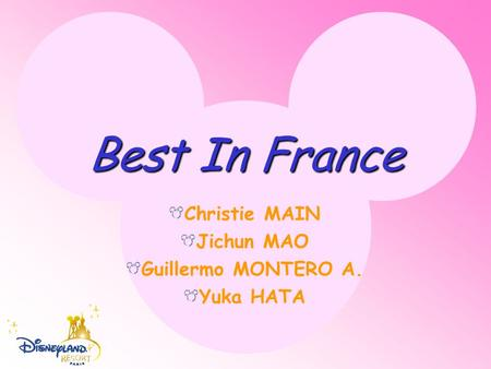 Best In France Christie MAIN Jichun MAO Guillermo MONTERO A. Yuka HATA.