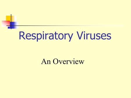 Respiratory Viruses An Overview.