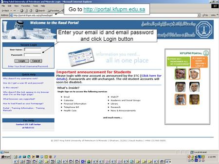 Go to  Enter your  id and  password and click Login button.