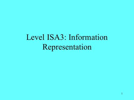 Level ISA3: Information Representation