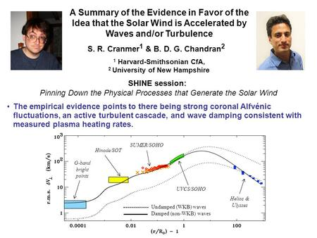 A Summary of the Evidence in Favor of the Idea that the Solar Wind is Accelerated by Waves and/or Turbulence S. R. Cranmer 1 & B. D. G. Chandran 2 1 Harvard-Smithsonian.