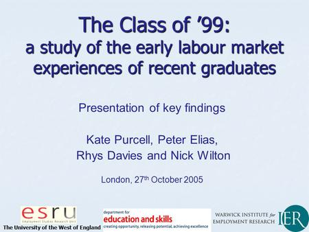 Presentation of key findings Kate Purcell, Peter Elias, Rhys Davies and Nick Wilton London, 27 th October 2005 The Class of '99: a study of the early labour.