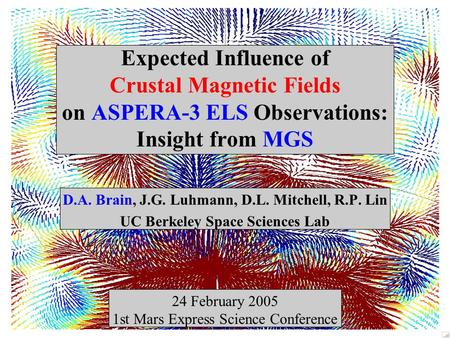 Expected Influence of Crustal Magnetic Fields on ASPERA-3 ELS Observations: Insight from MGS D.A. Brain, J.G. Luhmann, D.L. Mitchell, R.P. Lin UC Berkeley.