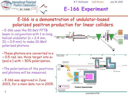 K.T. McDonald DoE Review July 29, 2005 1 E-166 Experiment E-166 is a demonstration of undulator-based polarized positron production for linear colliders.