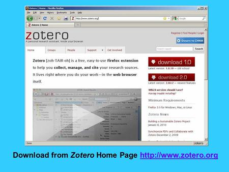 Download from Zotero Home Page