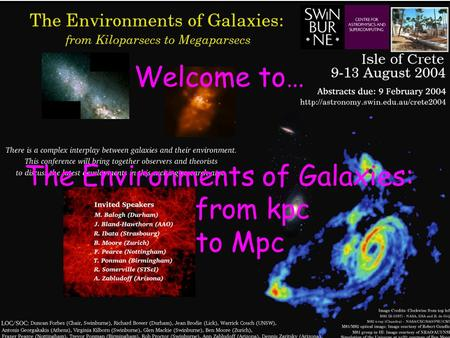 Welcome to… The Environments of Galaxies: from kpc to Mpc.