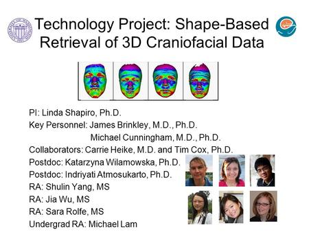 Technology Project: Shape-Based Retrieval of 3D Craniofacial Data PI: Linda Shapiro, Ph.D. Key Personnel: James Brinkley, M.D., Ph.D. Michael Cunningham,