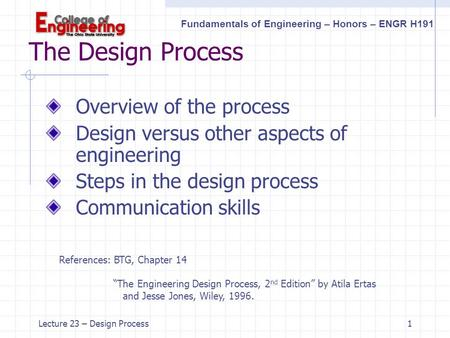 Fundamentals of Engineering – Honors – ENGR H191 Lecture 23 – Design Process1 The Design Process Overview of the process Design versus other aspects of.