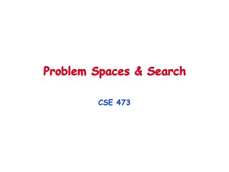 Problem Spaces & Search CSE 473. © Daniel S. Weld 2 473 Topics Agents & Environments Problem Spaces Search & Constraint Satisfaction Knowledge Repr'n.