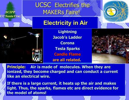 UCSC Electrifies the MAKERs Faire! UCSC Electrifies the MAKERs Faire! SCIPP UC Santa Cruz Lightning Jacob's Ladder Corona Tesla Sparks Candle Flame are.