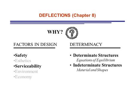DEFLECTIONS (Chapter 8) WHY? FACTORS IN DESIGN Safety Esthetics Serviceability Environment Economy DETERMINACY Determinate Structures Equations of Equilibrium.