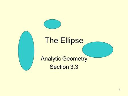 "1 The Ellipse Analytic Geometry Section 3.3. 2 Definition of ""ellipse"" An ellipse is the set of all points in a plane such that the distance from two."