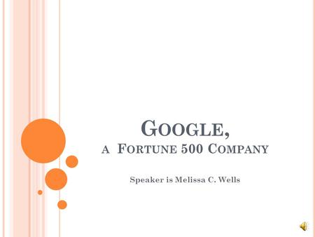 G OOGLE, A F ORTUNE 500 C OMPANY Speaker is Melissa C. Wells.