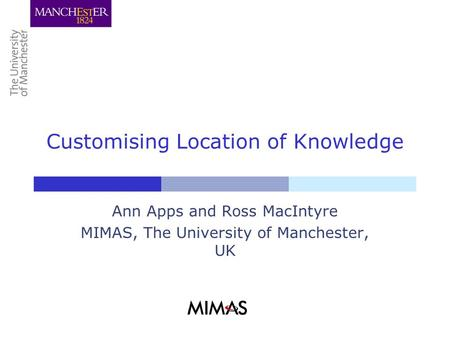 Customising Location of Knowledge Ann Apps and Ross MacIntyre MIMAS, The University of Manchester, UK.