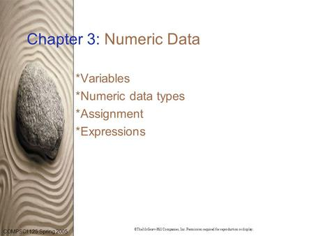 COMPSCI 125 Spring 2005 ©TheMcGraw-Hill Companies, Inc. Permission required for reproduction or display. Chapter 3: Numeric Data *Variables *Numeric data.