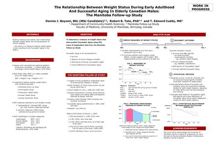 The Relationship Between Weight Status During Early Adulthood And Successful Aging In Elderly Canadian Males: The Manitoba Follow-up Study Dennis J. Bayomi,