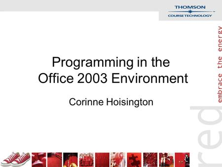 Programming in the Office 2003 Environment Corinne Hoisington.