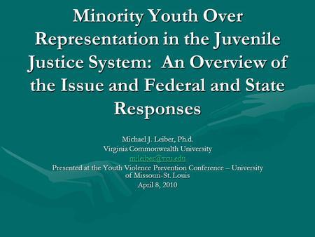 Disproportionate minority confinement