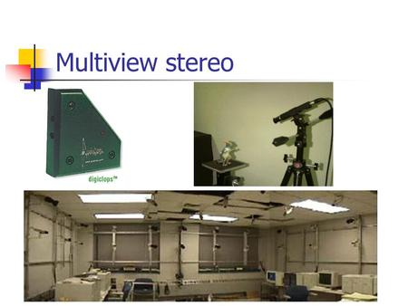"Multiview stereo. Volumetric stereo Scene Volume V Input Images (Calibrated) Goal: Determine occupancy, ""color"" of points in V."