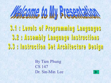 By Tien Phung CS 147 Dr. Sin-Min Lee. High-level Languages Assembly Languages Machine Languages.