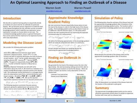 An Optimal Learning Approach to Finding an Outbreak of a Disease Warren Scott Warren Powell