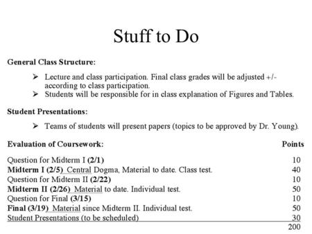 Stuff to Do. Midterm I questions due 1/31 Email me your question (with answers), –if you have the capability, mail complete questions, figures, etc. and.