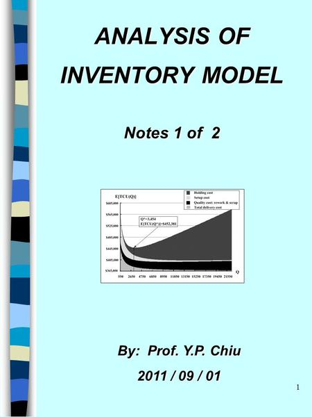 1 ANALYSIS OF INVENTORY MODEL Notes 1 of 2 By: Prof. Y.P. Chiu 2011 / 09 / 01.