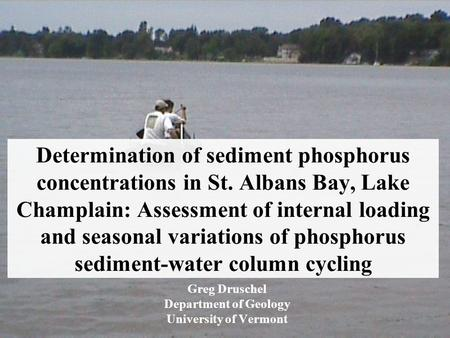 Determination of sediment phosphorus concentrations in St. Albans Bay, Lake Champlain: Assessment of internal loading and seasonal variations of phosphorus.