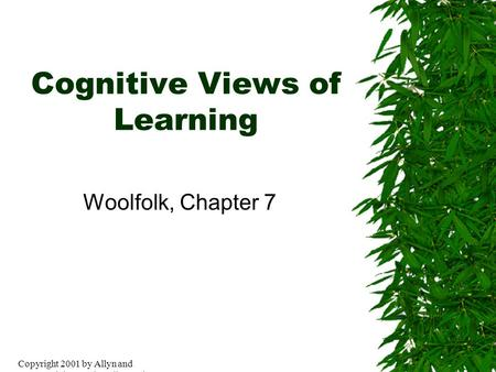 Copyright 2001 by Allyn and BaconCopyright 2001 by Allyn and Bacon Cognitive Views of Learning Woolfolk, Chapter 7.