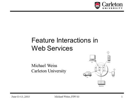June 11-13, 2003Michael Weiss, FIW 031 Feature Interactions in Web Services Michael Weiss Carleton University.