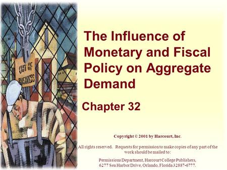 The Influence of Monetary and Fiscal Policy on Aggregate Demand Chapter 32 Copyright © 2001 by Harcourt, Inc. All rights reserved. Requests for permission.