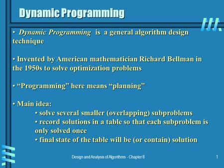 Design and Analysis of Algorithms - Chapter 81 Dynamic Programming Dynamic Programming is a general algorithm design technique Dynamic Programming is a.