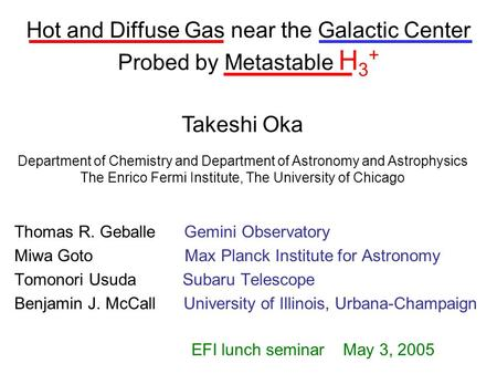 Hot and Diffuse Gas near the Galactic Center Probed by Metastable H 3 + Thomas R. Geballe Gemini Observatory Miwa Goto Max Planck Institute for Astronomy.