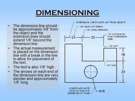 "DIMENSIONING The dimension line should be approximately 3/8"" from the object and the extension lines should extend 1/8"" beyond the dimension line. The."