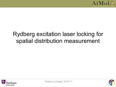 Rydberg excitation laser locking for spatial distribution measurement Graham Lochead 24/01/11.