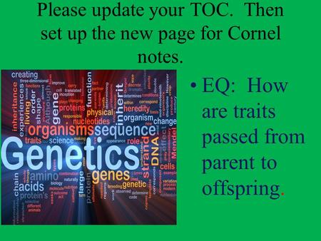 Please update your TOC. Then set up the new page for Cornel notes.