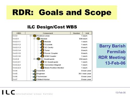 13-Feb-06 RDR: Goals and Scope Barry Barish Fermilab RDR Meeting 13-Feb-06 ILC Design/Cost WBS.